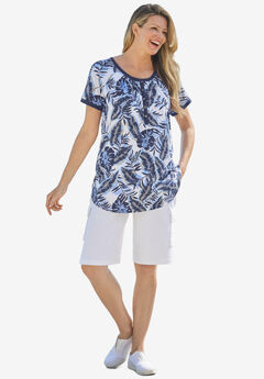 Banana leaf print Henley shirt in soft knit, NAVY TROPICAL
