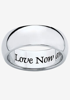 Stainless Steel Inspirational Message Wedding Band Ring,