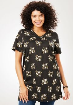 Printed Shirred V-Neck Perfect Tunic, BLACK FLORAL