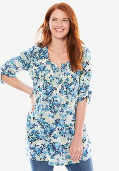 Pleated Floral Henley Tunic, ICE JADE LAYERED DAISY, hi-res