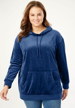 Velour Hooded Sweatshirt,