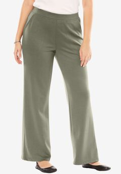 Wide leg Ponte knit pant, OLIVE GREY, hi-res