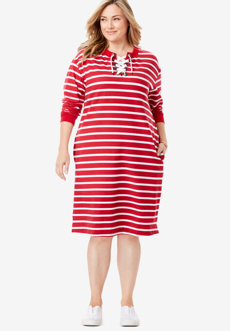 Lace-Up Front Fleece Dress| Plus Size Dresses | Woman Within