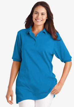 Elbow-Sleeve Tunic Polo Shirt, VIBRANT BLUE