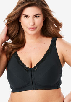 Front-Close Cotton Wireless Posture Bra , BLACK