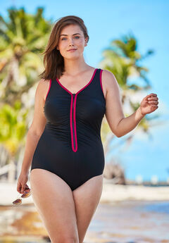 Zip-Front One Piece with Front Zipper, BLACK PINK