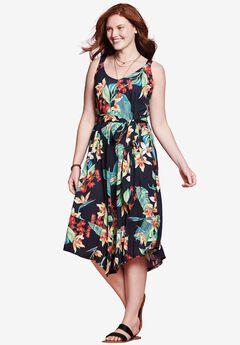 Asymmetrical Hem Dress, BLACK TROPICAL FLORAL, hi-res