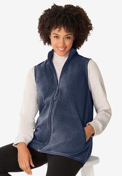 Zip-Front Microfleece Vest, NAVY