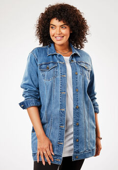 Long Stretch Denim Trucker Jacket, LIGHT STONEWASH SANDED, hi-res