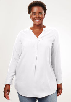 Tab-Front Long Sleeve Shirt, WHITE