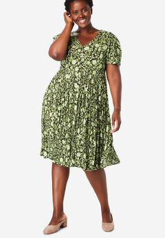 Short Button-Front Crinkle Dress, GREEN OVERLAY FLORAL