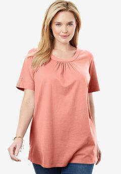 Perfect Button-Sleeve Shirred Scoop-Neck Tee,
