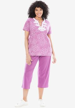 2-piece kurta tunic set, RADIANT ORCHID DAISY PATCH, hi-res