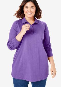 Long-Sleeve Tunic Polo Shirt, PLUM BURST