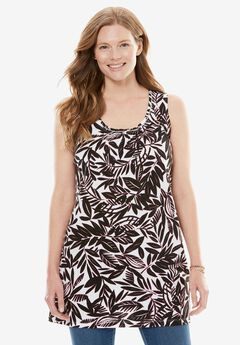 Perfect Pintuck Tunic Tank, WHITE STENCIL LEAF, hi-res