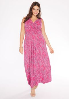 Stretch knit surplice dress in prints & solids,