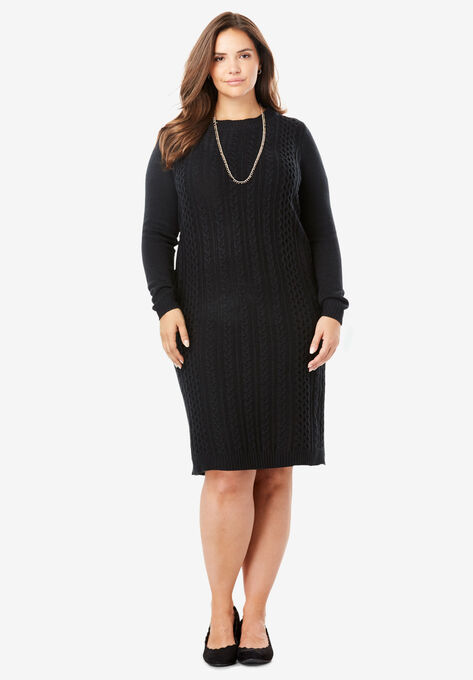 Cableknit Sweater Dress| Plus Size Dresses | Woman Within