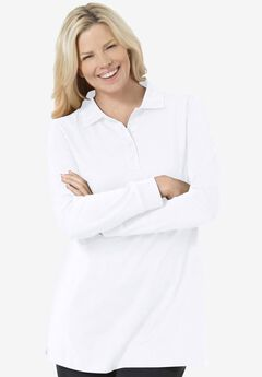 Long-Sleeve Polo Shirt, WHITE