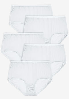 5-Pack Nylon Full-Cut Brief by Comfort Choice®, WHITE PACK, hi-res