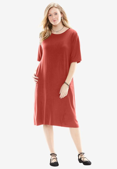 Bell Sleeve Trapeze Dress Plus Size Casual Dresses Woman Within