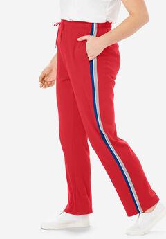 Sport Knit Side-Stripe Pant, VIVID RED DARK SAPPHIRE HEATHER GREY