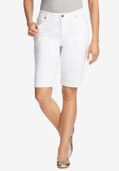 Stretch Jean Bermuda Short, WHITE