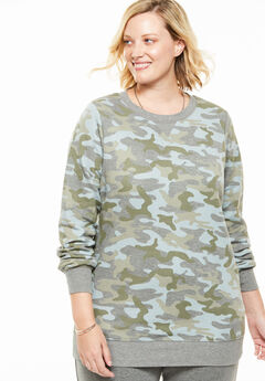 Fleece Sweatshirt, GUNMETAL CAMO