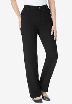 Side-Elastic Straight Leg Cotton Jean, BLACK