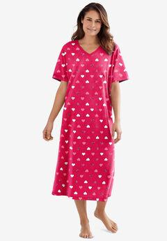 Long Print Sleepshirt , RADIANT PINK HEARTS