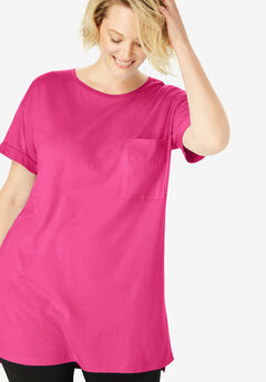 Longer Length Cuffed Crewneck Tunic,