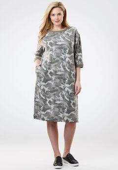 Soft Fleece Sweatshirt Dress, GREEN CAMO, hi-res