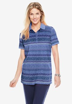 Perfect Printed Short-Sleeve Polo Shirt, ROYAL NAVY PATCHWORK STRIPE