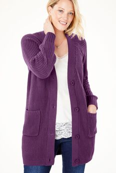 Long sleeve Button-Front Cardigan,