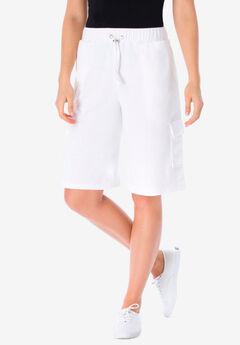 Pull-On Knit Cargo Short, WHITE