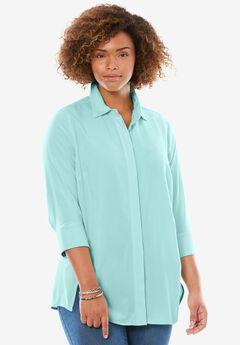 Elbow sleeve A-line blouse, FRESH AQUA, hi-res