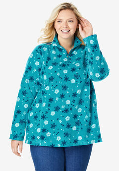 Quarter-Zip Microfleece Pullover, DEEP TURQUOISE FLOATING SNOW