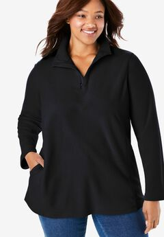 Quarter-Zip Microfleece Pullover, BLACK