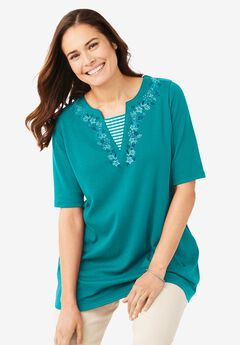 Embroidered Layered-Look Tunic,