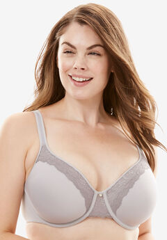 Bali® One Smooth U® Lace With Lift Underwire Bra #3L97, CRYSTAL GREY SILVER FILIGREE