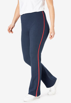 Stretch Cotton Side-Stripe Bootcut Yoga Pant,