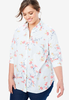 Printed Three-Quarter Sleeve Perfect Shirt,