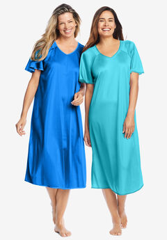 2-Pack Short Silky Gown ,