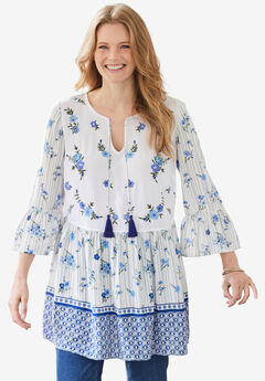 Bell Sleeve Embroidered Blouse, NAVY FLORAL BORDER