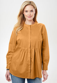 Perfect Pintuck Shirt, HONEY GLAZE