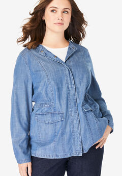 Collarless Denim Utility Jacket,