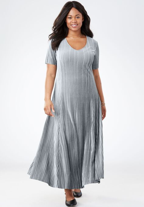 Pleated Velour Dress Plus Size Special Occasion Dresses Woman Within