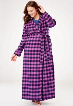 Long Flannel Robe by Dreams & Co.®, FRESH BERRY PLAID, hi-res