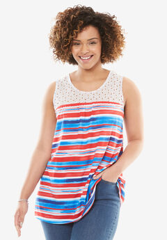 Crochet Detail Americana Tank, AMERICANA PAINTERLY STRIPE, hi-res