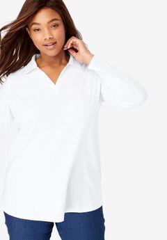Perfect Open Collar Polo Long Sleeve Tee, WHITE