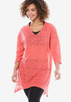 V-Neck Tunic, CORAL ROSE, hi-res